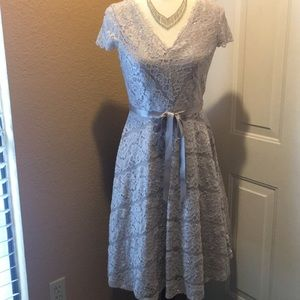 Jackie Jon midi dress light gray with silver 4